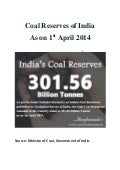 India's Coal Reserves as on 1st April 2014