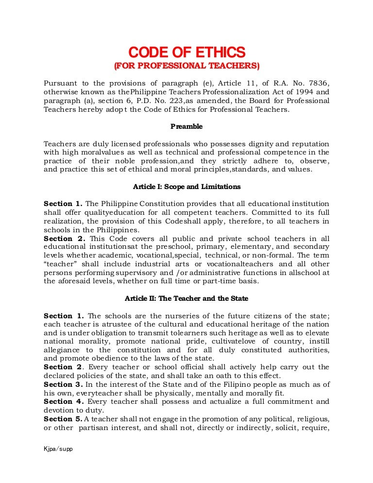 Code of Ethics for Teaching Profession