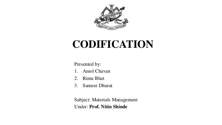 codification in material management ppt