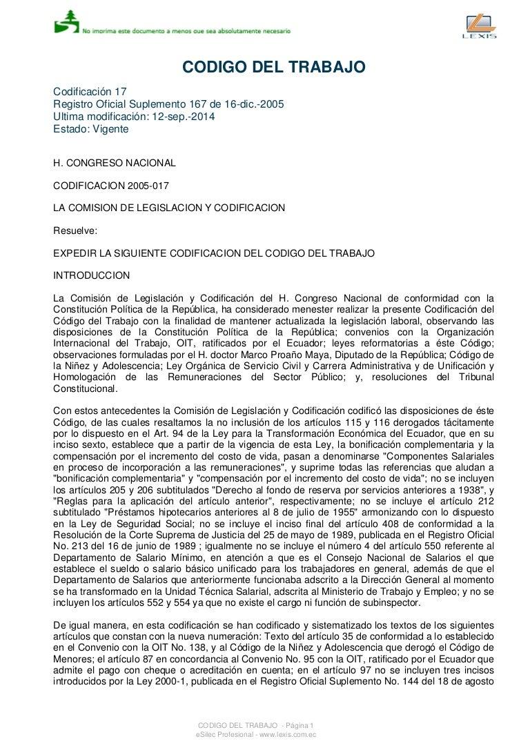 Codigo de Trabajo del Ecuador REFORMA 2O14
