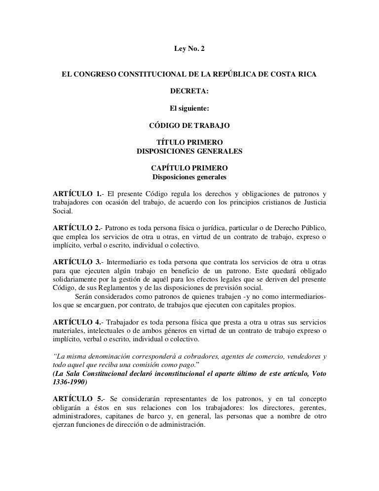Código de trabajo vigente Costa Rica