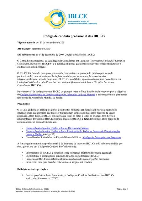 Código de Ética e de Conduta das Consultoras de Amamentação Certificadas pelo IBLCE