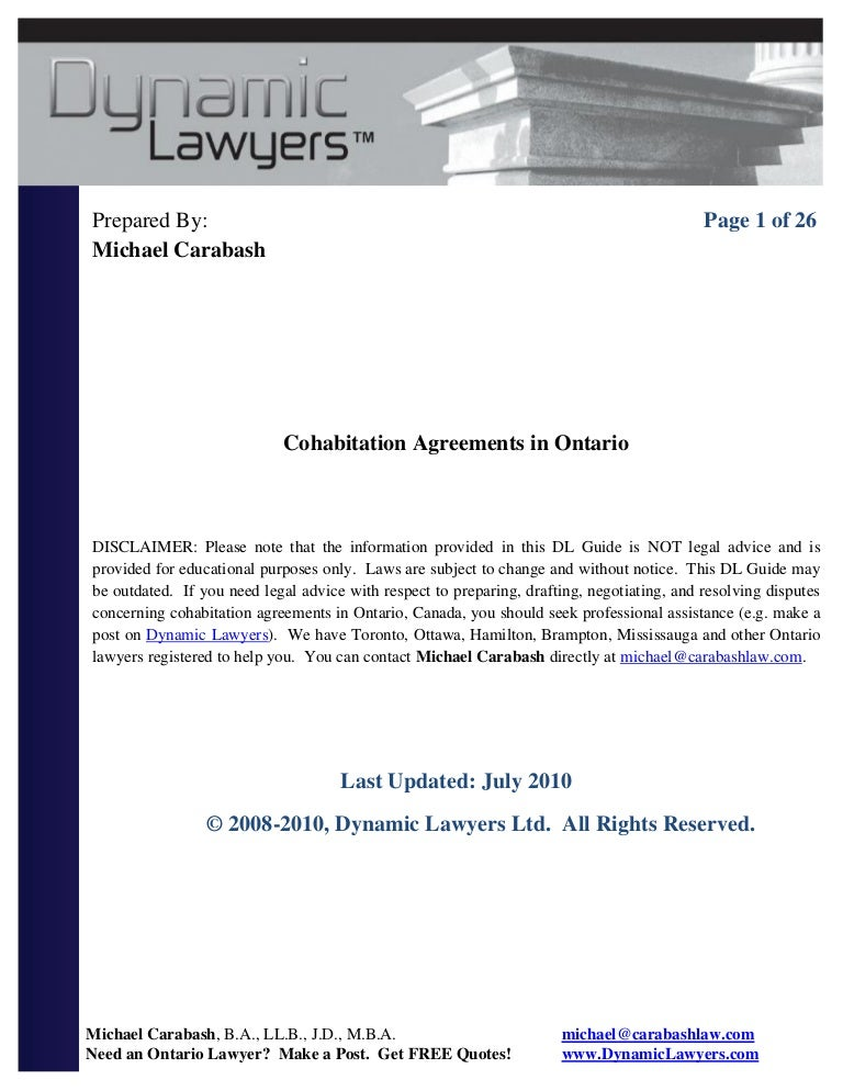 Cohabitation agreement ontario – Sample Cohabitation Agreement Template