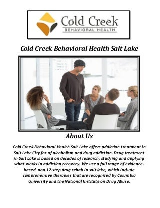 Cold Creek Behavioral Health Salt Lake City Drug Rehab