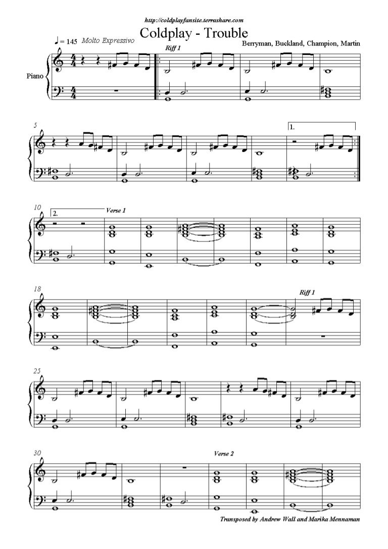 Trouble Sheet Music Ibovnathandedecker