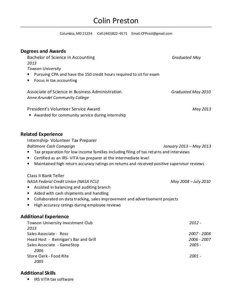 colin preston resume - Vita Resume