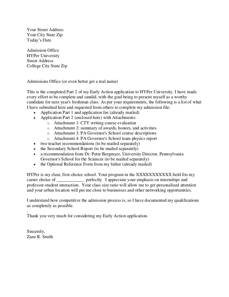 College Application Cover Letter Confidential