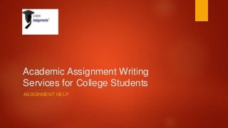 College assignment help in UK
