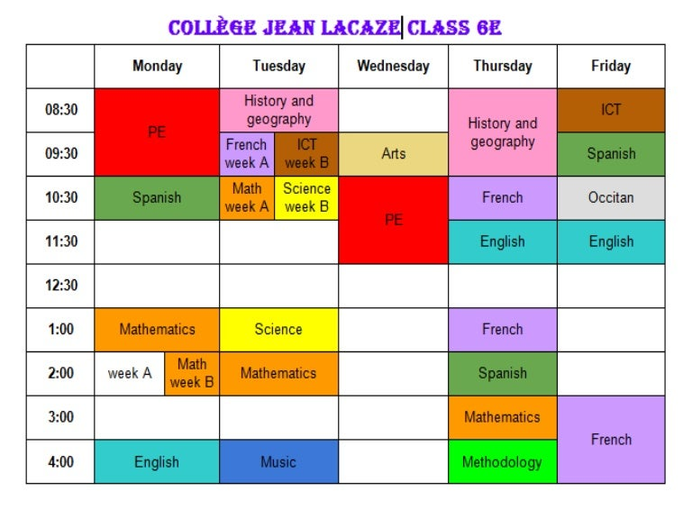 college jean lacaze timetable  class 6e