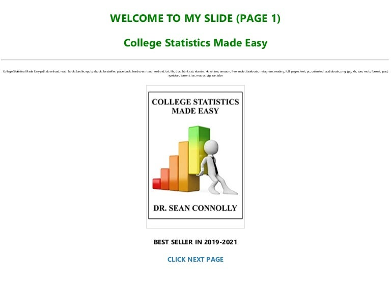 Free [DOWNLOAD $PDF$] College Statistics Made Easy Full AudioBook