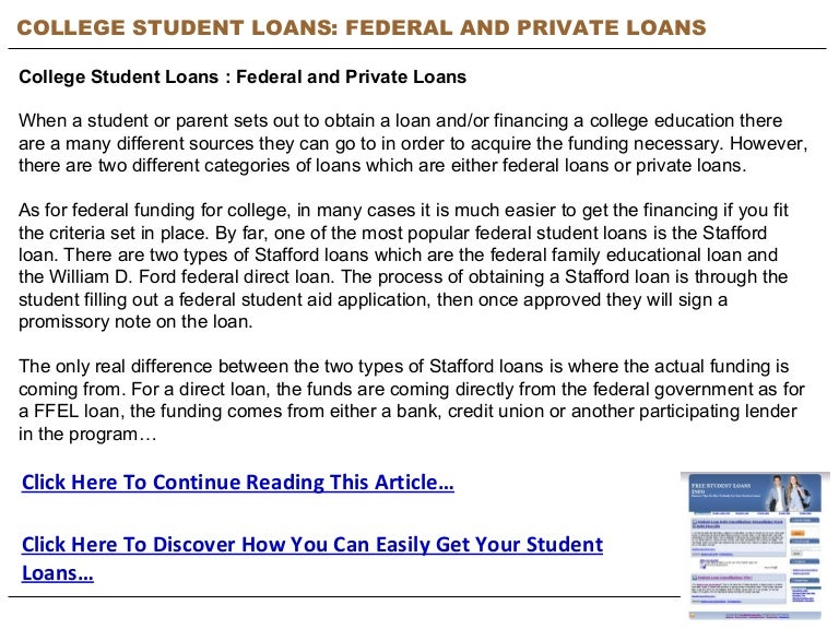 College Student Loans : Federal And Private Loans - Free ...