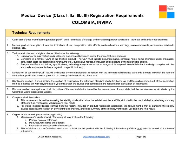 Colombia INVIMA medical device registration document requirements