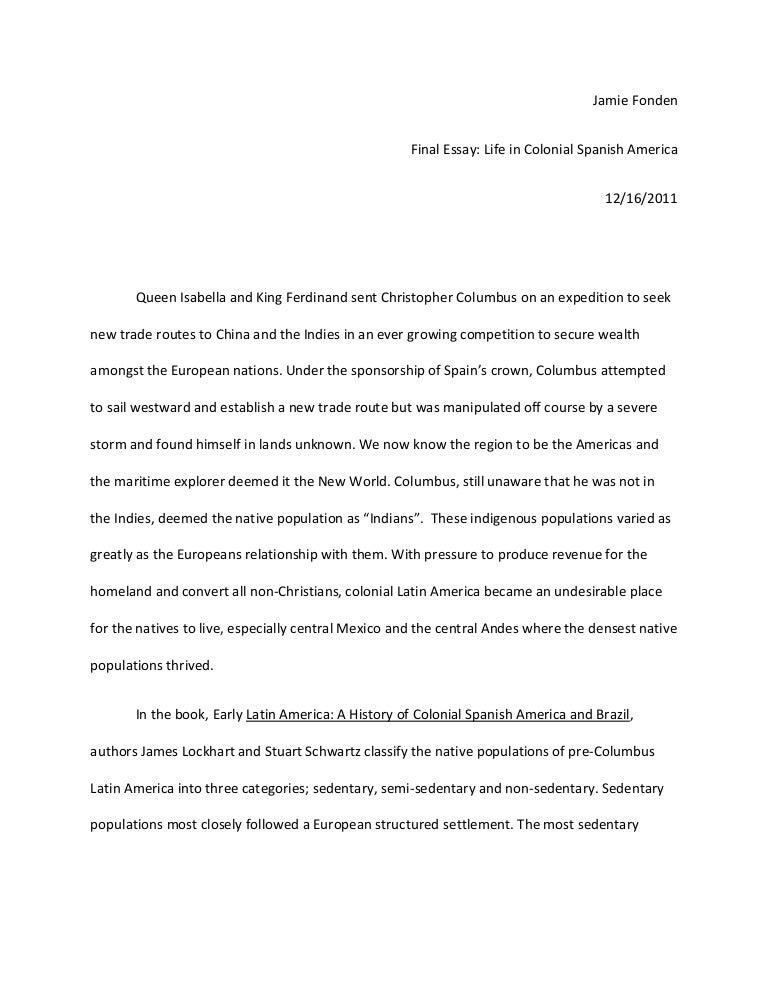 colonial spain final essay