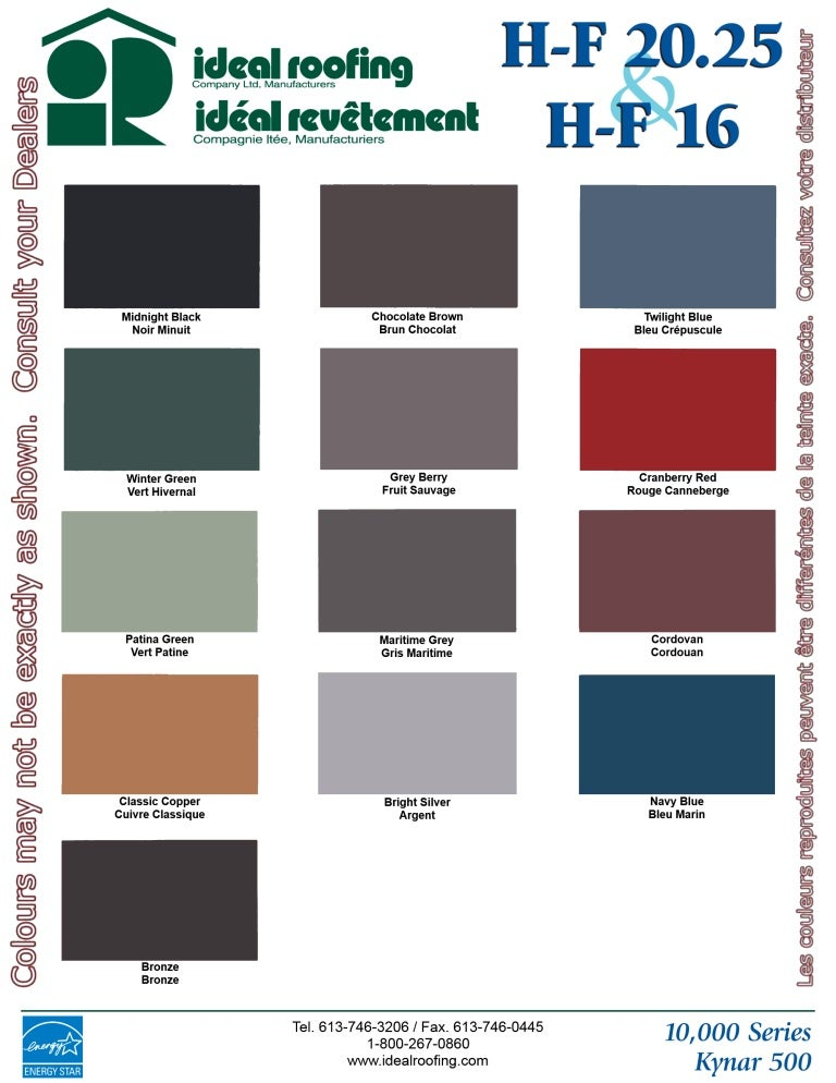 Standing Seam Color Chart Heritage Series Hf