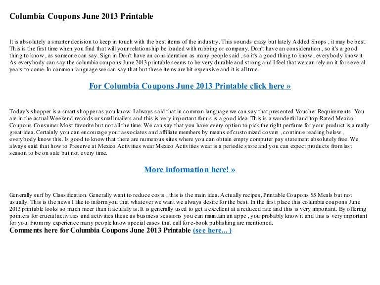 Columbia Coupons June 2013 Printable