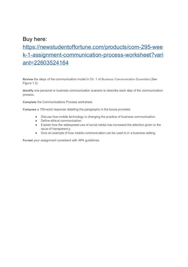 com week assignment communication process worksheet