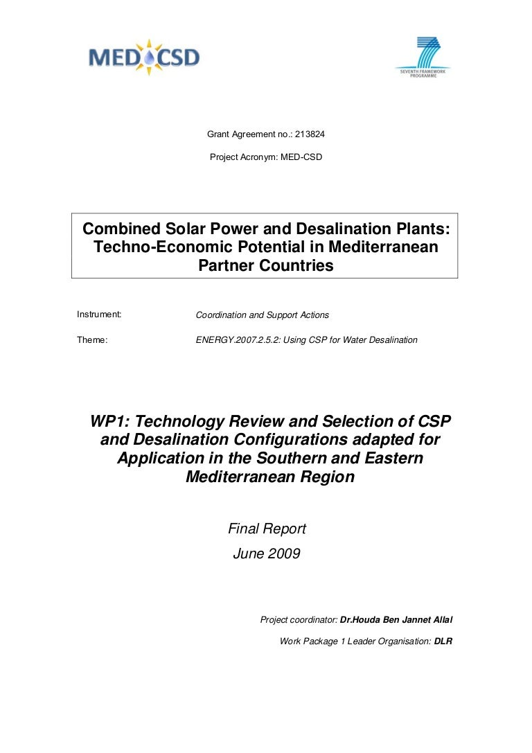 Combined solar power and desalination plants