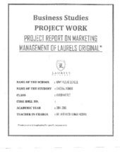 Business Studies (Marketing Management) Project Class 12th CBSE