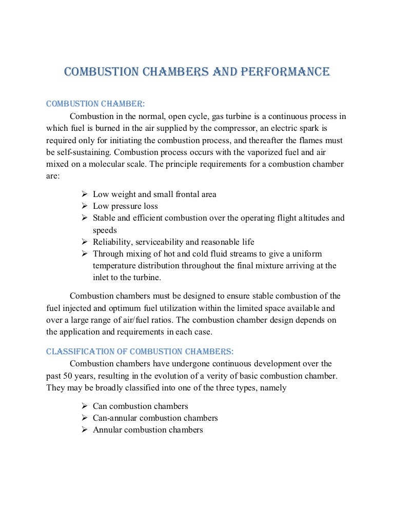 Combustion chambers-and-performance