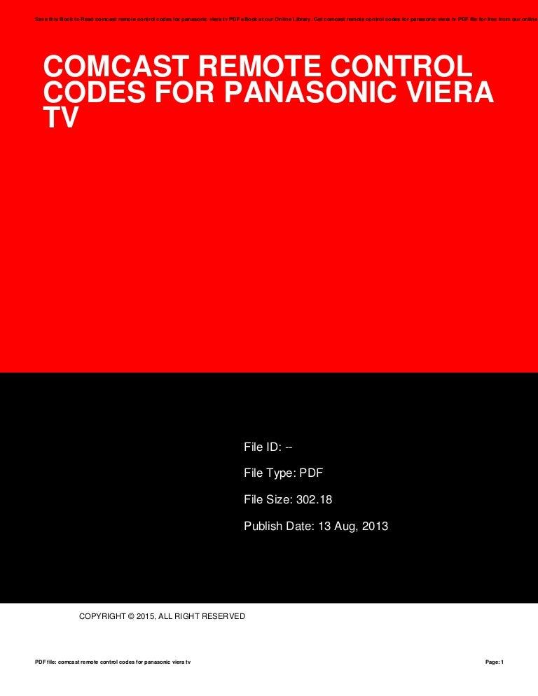 Comcast Remote Control Codes For Panasonic Viera Tv