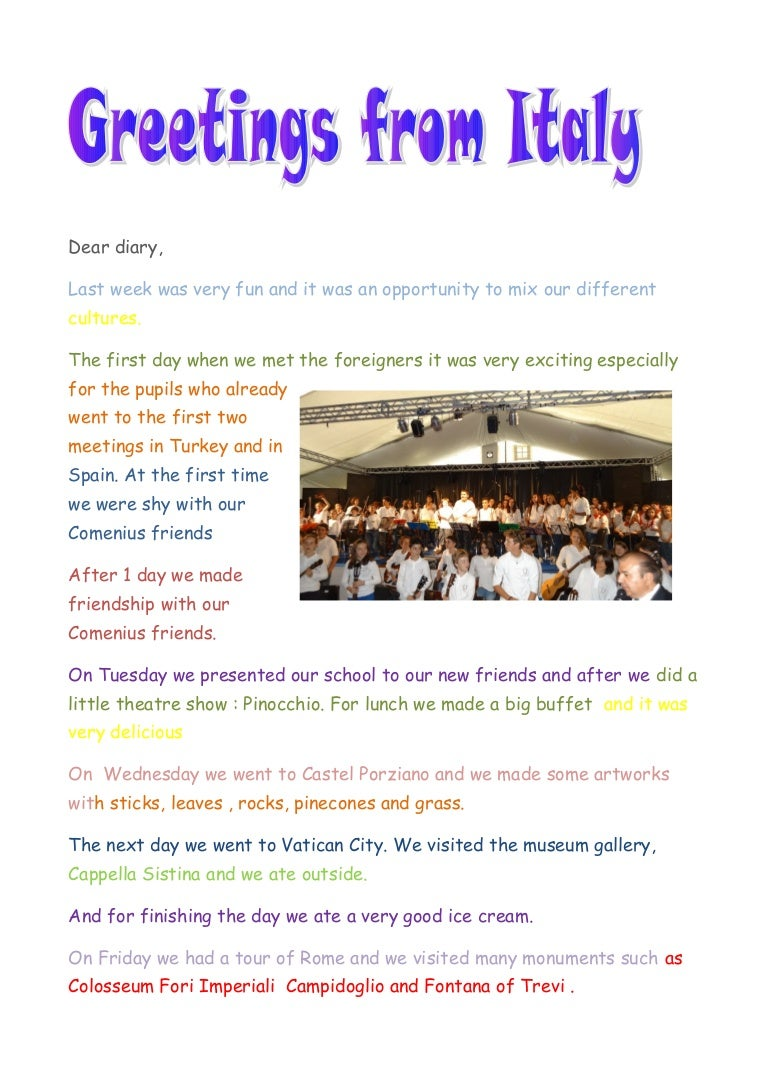 Comenius Letter From Italy