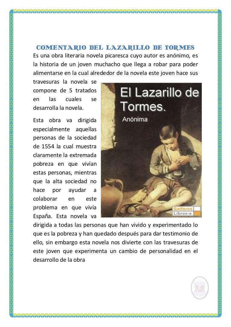 Comentario del Lazarillo de Tormes
