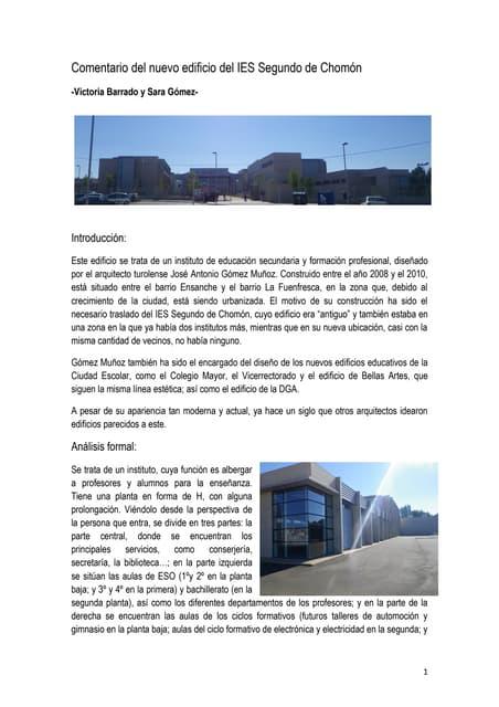 Comentario del nuevo edificio del ies segundo de chomón