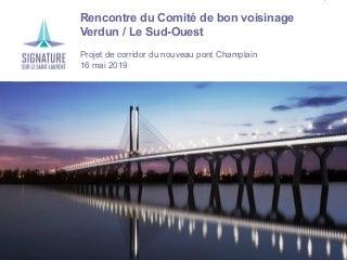 Comité de bon voisinage Verdun / Île-des-Soeurs / Le Sud-Ouest - 16 mai 2019