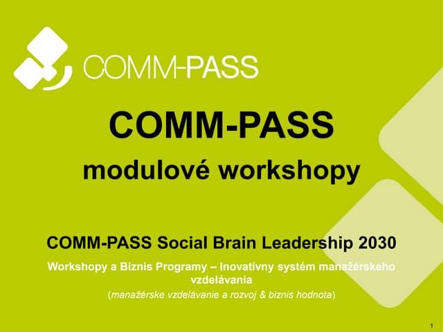 COMM-PASS modulové workshopy - manažérske vzdelávanie, rozvoj a rast
