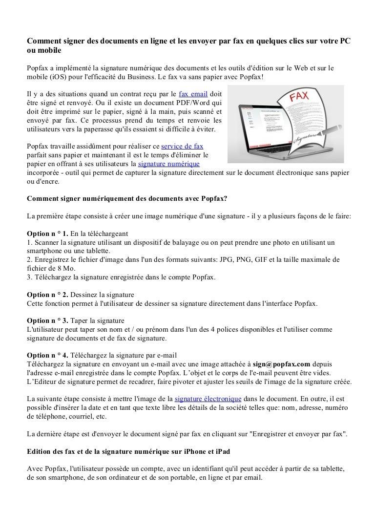 Comment Signer Des Documents En Ligne Et Les Envoyer Par Fax En Quelq