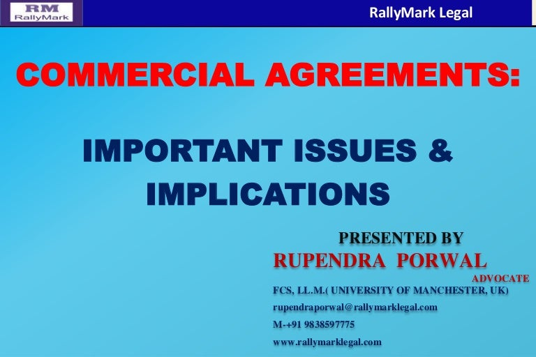 Commercial Agreement- Issues & Implications