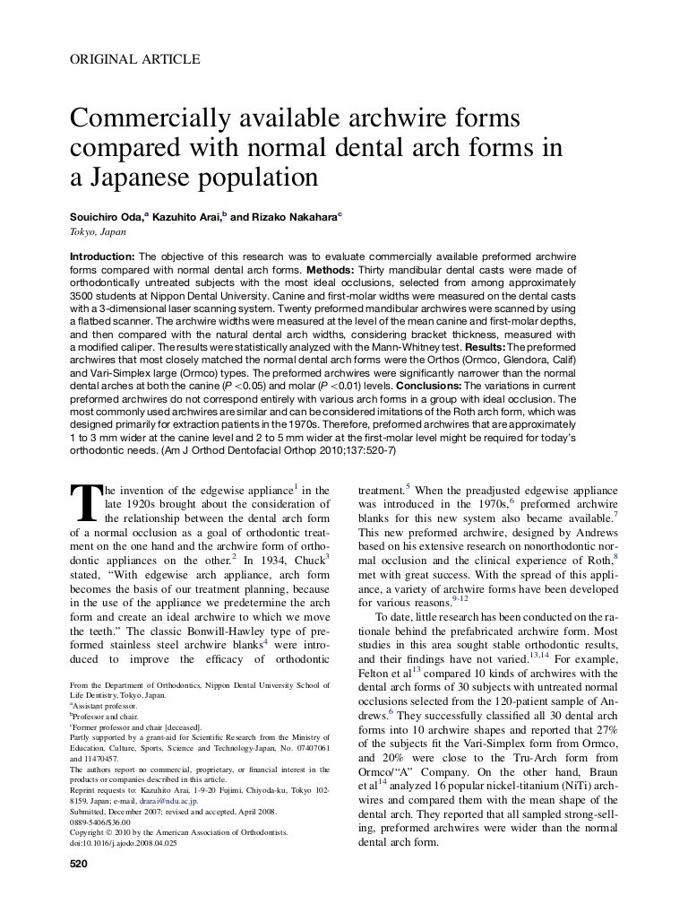 Commercially available archwire forms compared with normal dental arc…