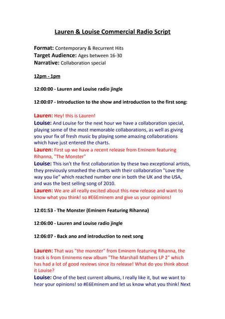Example Radio Script