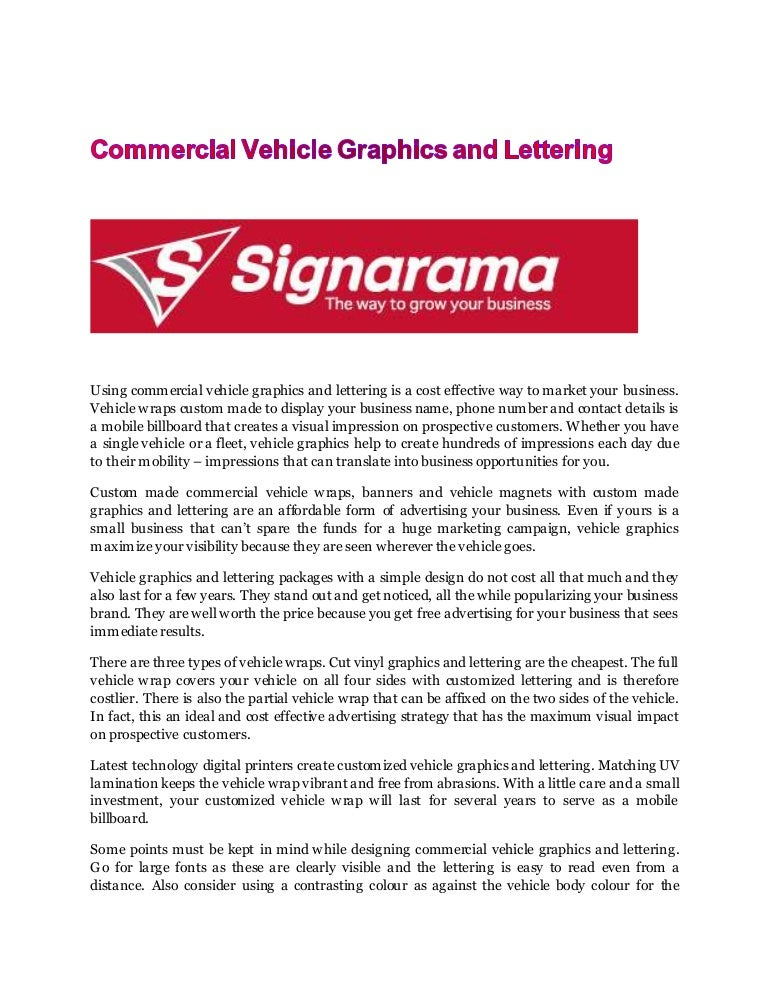 Commercial vehicle graphics and lettering new