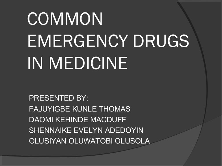 Common emergency drugs in medicine