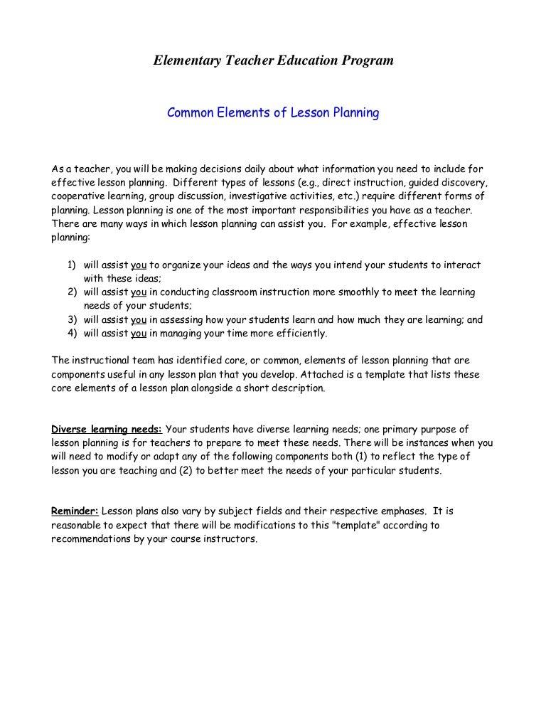 Common Lesson Plan