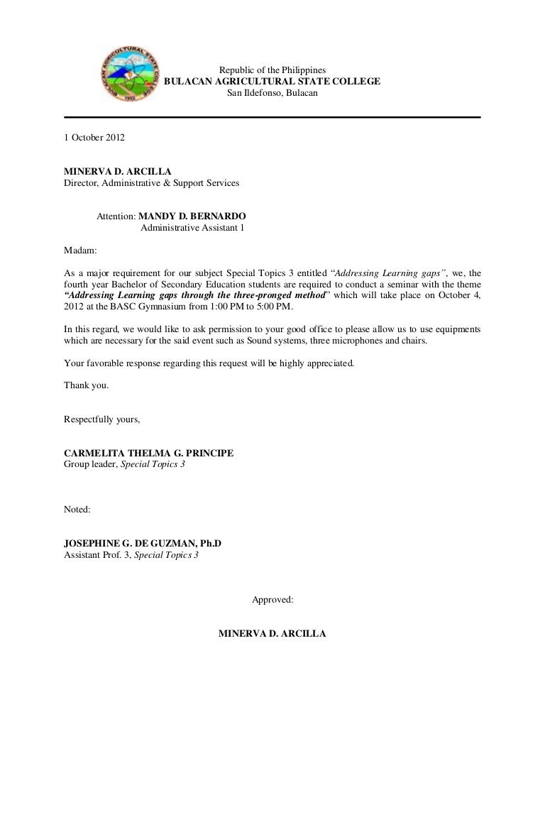 Communication letter for venue altavistaventures