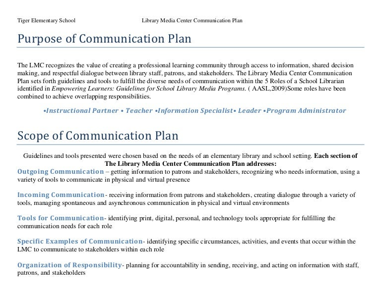 Communication plans by rdonnafis – Sample Communication Plan