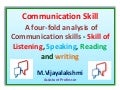 Communication skill - A four-fold analysis of Communication skills - Skill of Listening, Speaking, Reading and writing.
