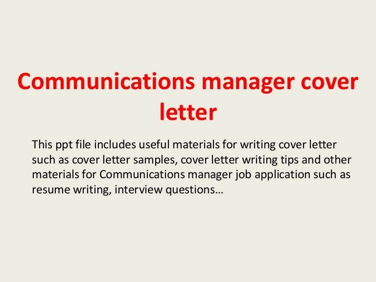 Tips To Write Cover Letter For Marketing Communications Manager