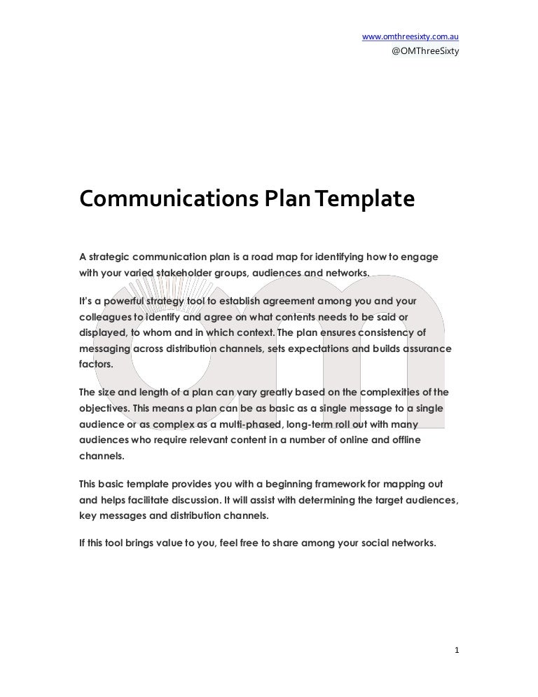 Communications Plan Template - Om Threesixty Free Tool