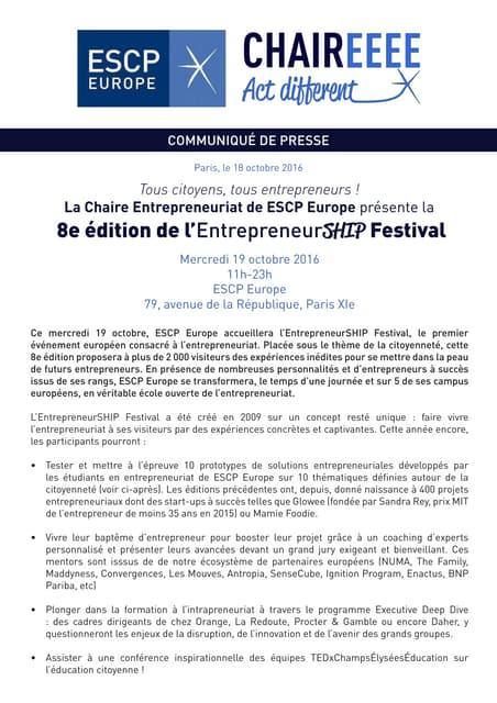 Communiqué de presse EntrepreneurSHIP Festival 2016