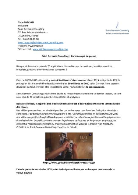 Communiqué de presse Benchmark Objets connectés: Panorama international des initiatives Banque et Assurance – Janvier 2015