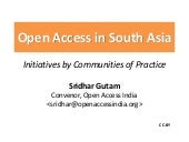 Communities of practices for open access