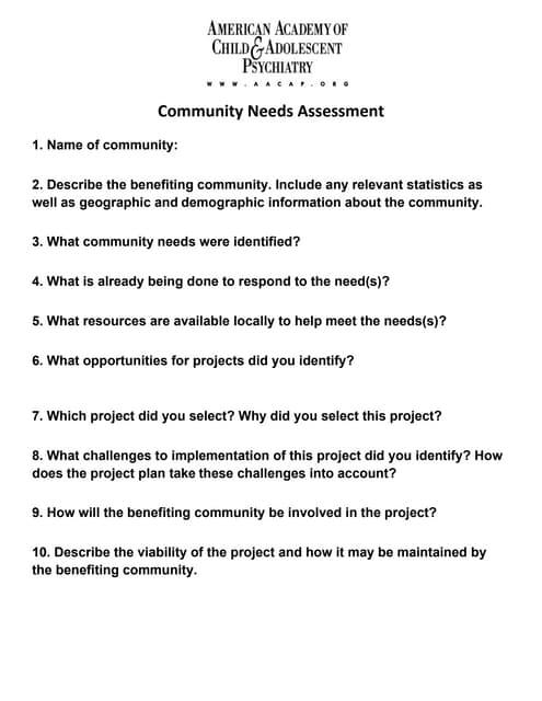 Community Needs Assessment Form