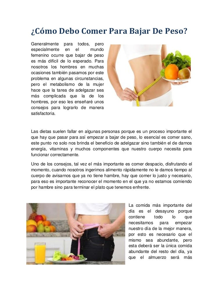 Que comidas debes comer para bajar de peso
