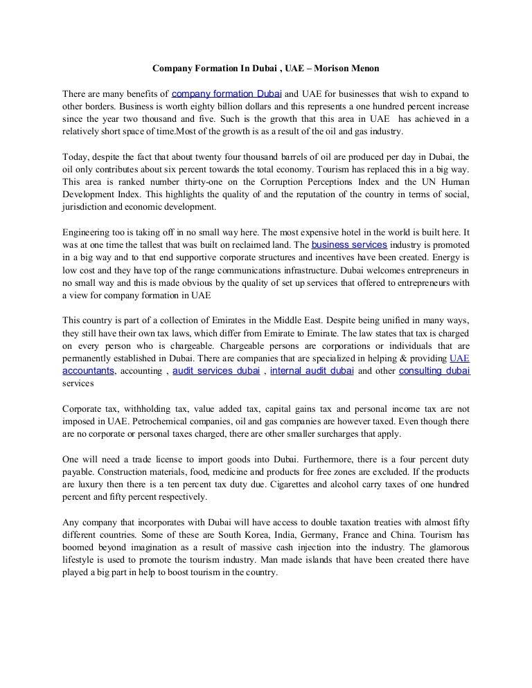 Company formation in dubai – morison menon