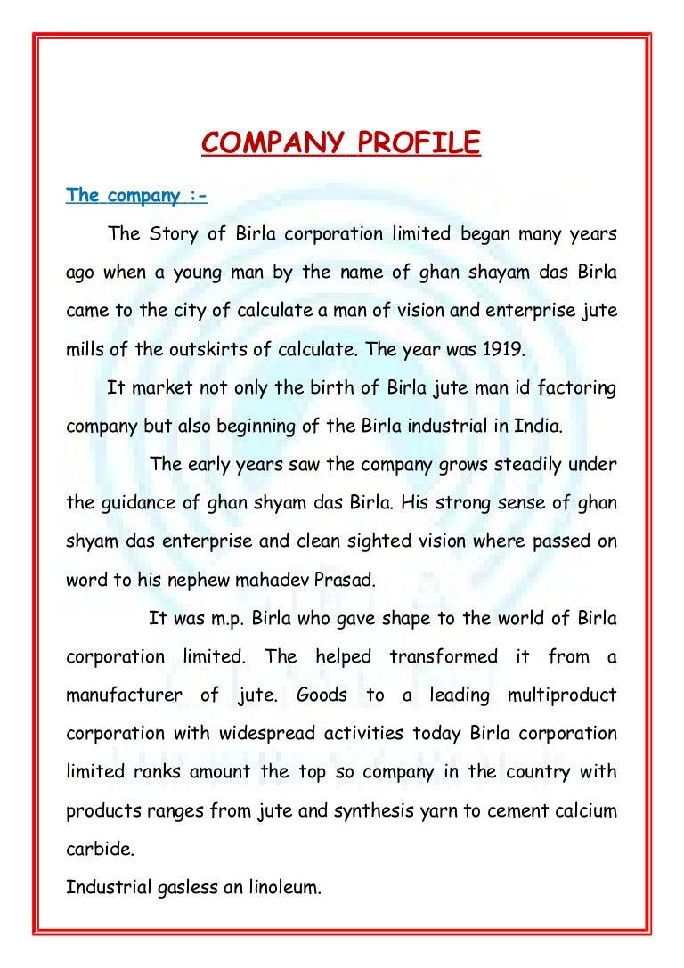 Doc12401754 Small Business Profile Template Company Profile – Write Company Profile Template