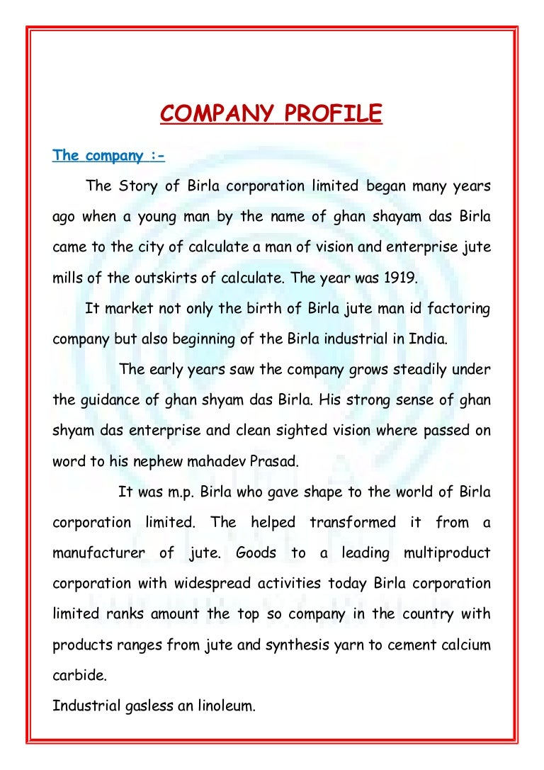 company profile format word document – Firm Profile Format