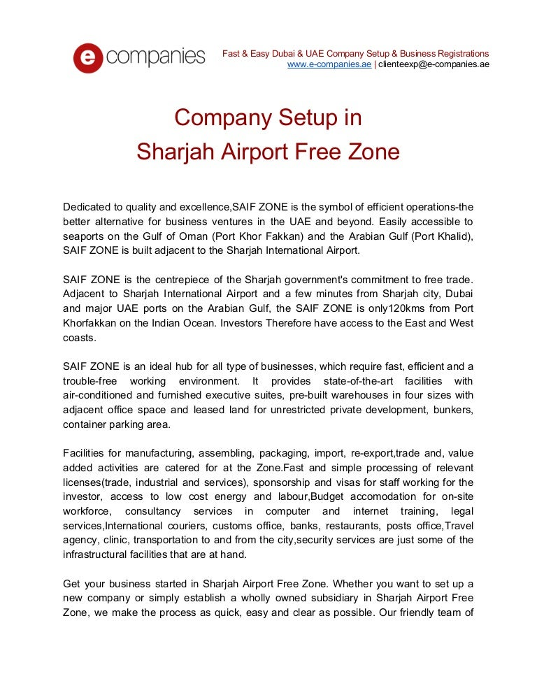 Company setup in sharjah airport free zone
